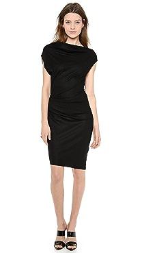 Helmut Lang Sonar Wool Asymmetrical Dress