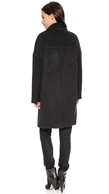 Helmut Lang High Collar Wool Coat