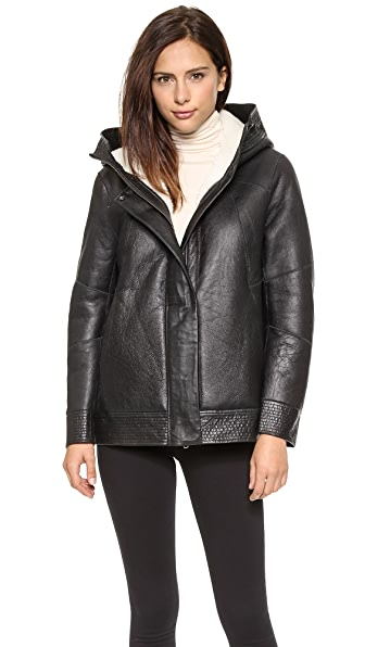Helmut Lang Short Shearling Leather Coat