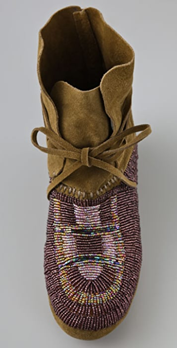House of Harlow 1960 Maddie Beaded Suede Moccasin Booties