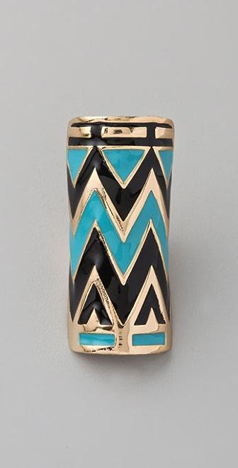 House of Harlow 1960 Enameled Tribal Wrap Ring