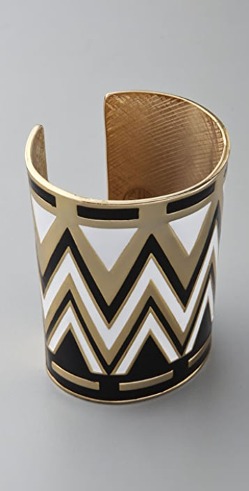 House of Harlow 1960 Enameled Tribal Cuff