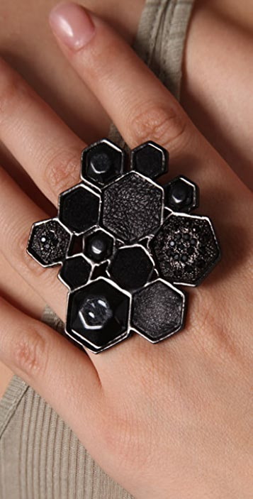 House of Harlow 1960 Large Mixed Media Cluster Ring