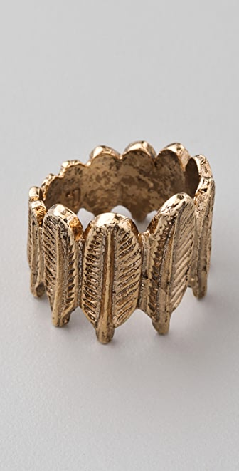 House of Harlow 1960 Feather Row Ring