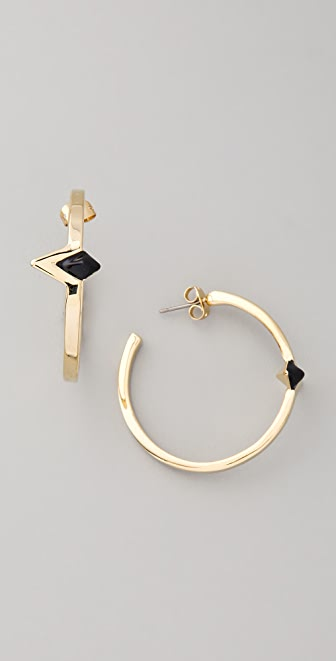 House of Harlow 1960 Black Triangle Hoop Earrings