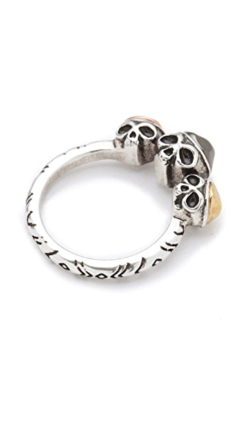 House of Harlow 1960 Triple Skull Ring