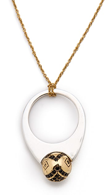House of Harlow 1960 Engraved Orb Pendant Necklace