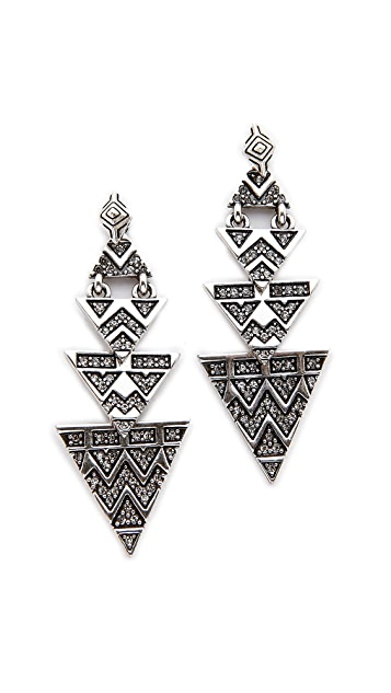 House of Harlow 1960 2-way Pave Tribal Triangle Earrings