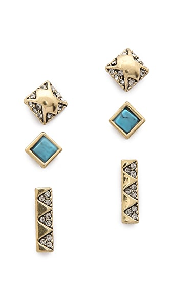 House Of Harlow 1960 Plateau Earrings Set - Gold/Turquoise