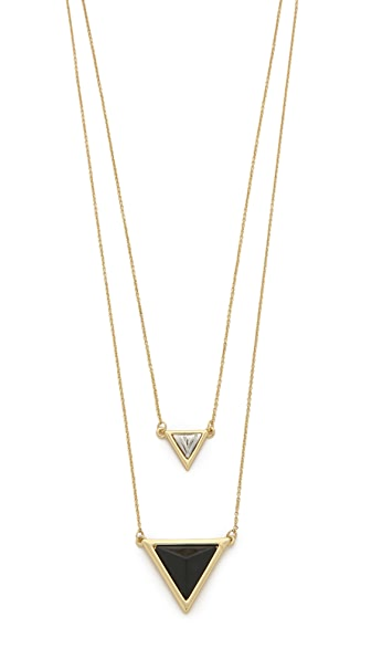 House Of Harlow 1960 The Temple Necklace - Howlite/Black/Gold