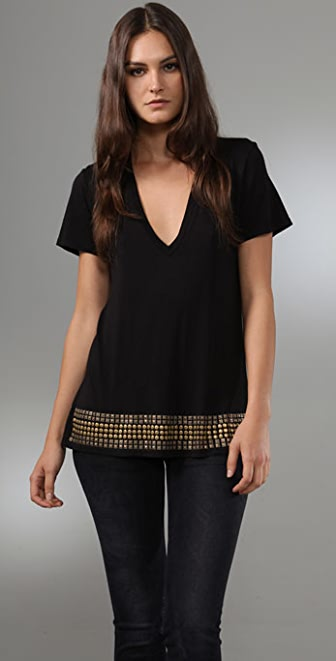 MONROW Studded Oversized V Neck Tee