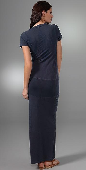 MONROW Print V Neck Long Dress