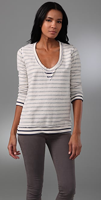 MONROW Striped Fleece Top
