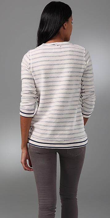 MONROW Striped Fleece Top