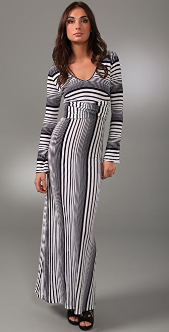 MONROW Variegated Stripe Long Dress