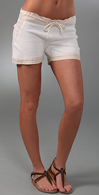 MONROW Flat Back Ribbed Shorts