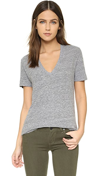 MONROW Oversized V Neck Tee - Granite
