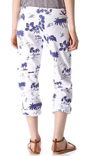 MONROW Hawaiian Print Vintage Sweatpants