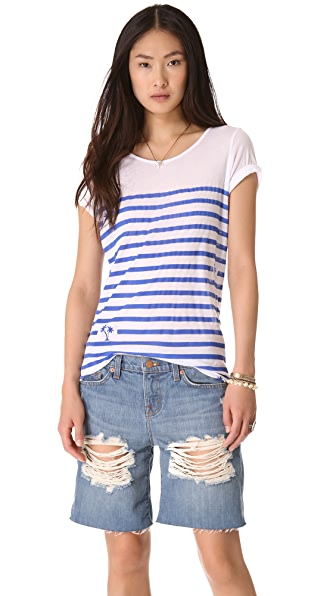 MONROW Palm Tree Striped Tee