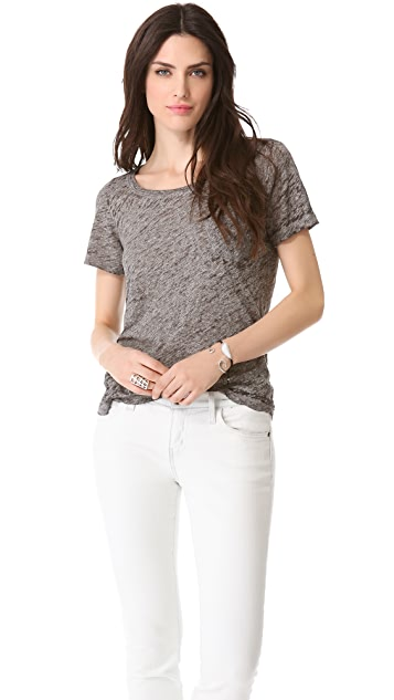 MONROW Burnout Vintage Pocket Tee