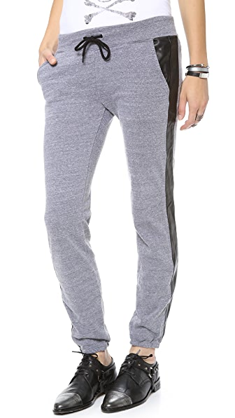 MONROW Track Sweats with Leather