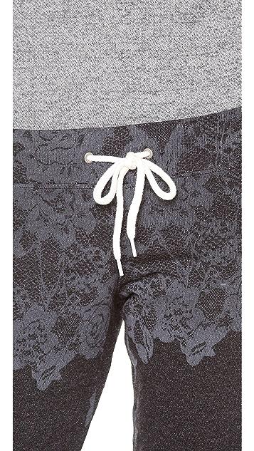 MONROW Lace Print Vintage Sweatpants