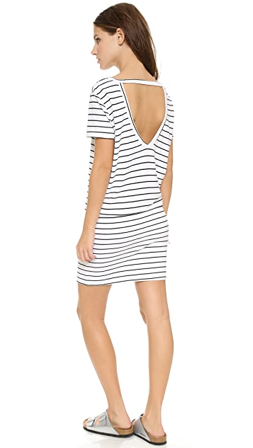 MONROW Pinstripe Open Back Dress