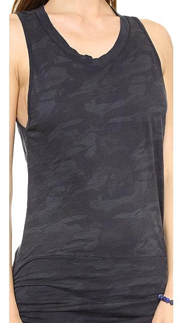 MONROW Camo Print Shirred Dress
