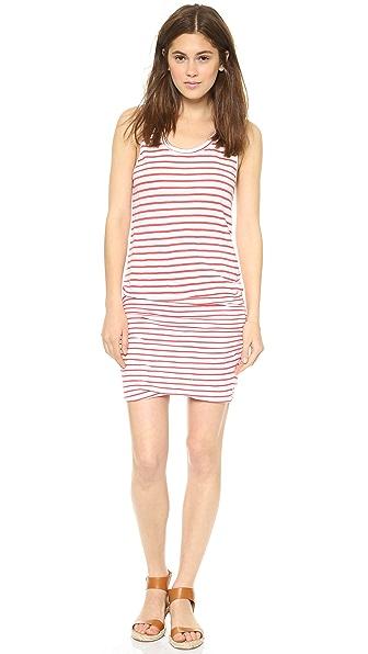 MONROW Red Striped Shirred Dress