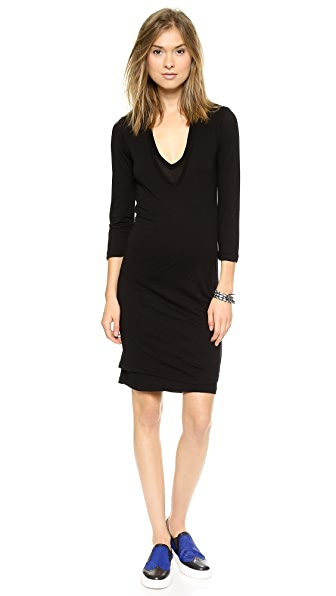 MONROW Double V Neck Dress