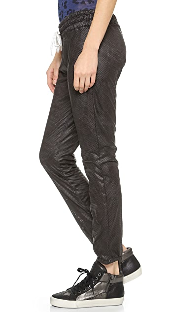 MONROW Perforated Faux Leather Sweatpants