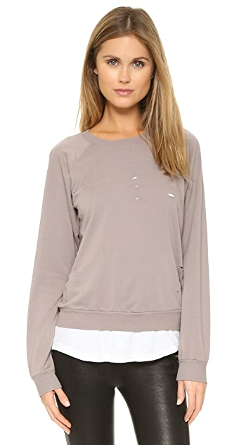 MONROW Distressed Double Layer Sweatshirt