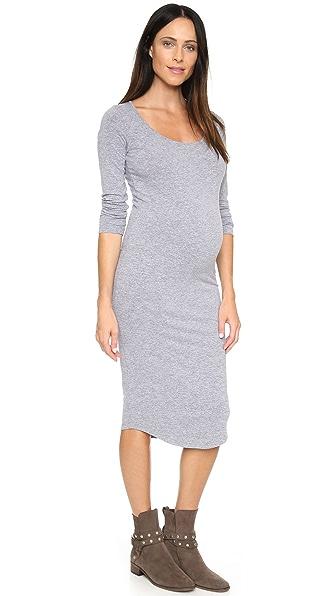 MONROW Maternity Long Sleeve Dress - Granite