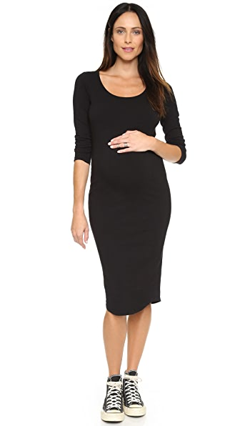 MONROW Maternity Long Sleeve Dress In Black