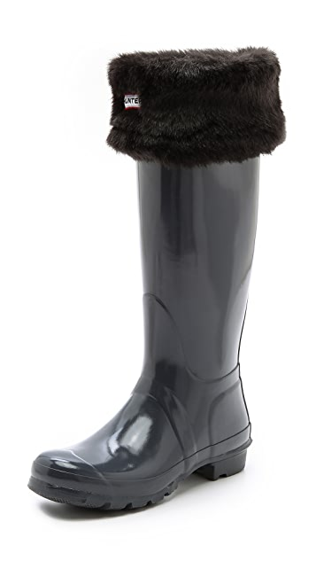 Hunter Boots Faux Fur Cuff Welly Socks