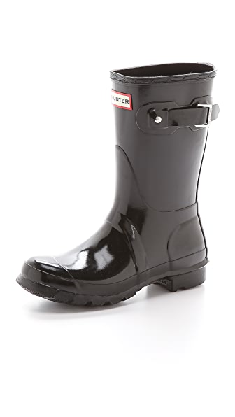 Hunter Boots Original Short Gloss Boots - Black at Shopbop