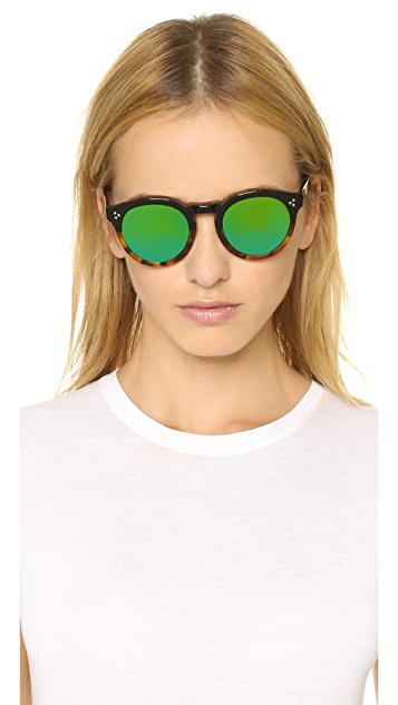 Illesteva Leonard II Half and Half Mirrored Sunglasses