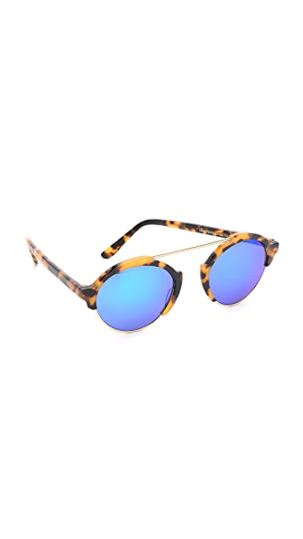 Illesteva Milan III Mirrored Sunglasses - Tortoise/Blue