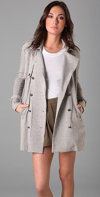 Imitation Nubby Trench Coat