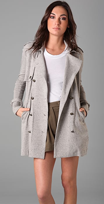 Imitation Nubby Trench Coat