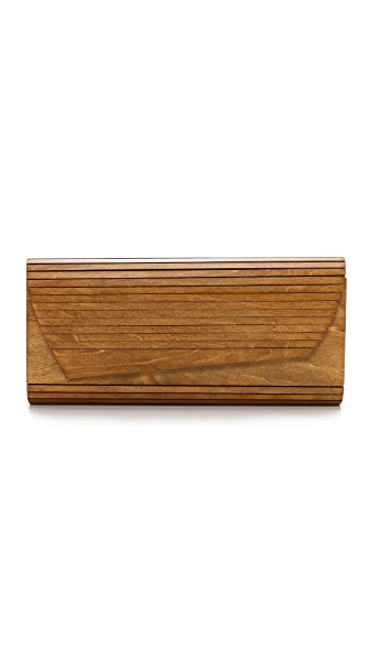 Inge Christopher Zena Wood Panel Clutch - Natural