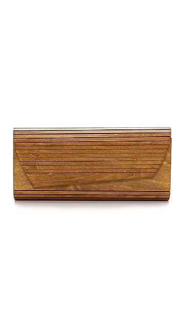Inge Christopher Zena Wood Panel Clutch