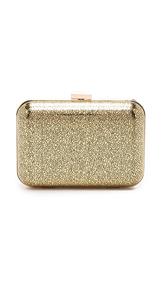 Metallic faux leather minaudiere