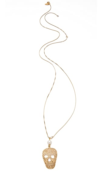 Iosselliani Skull Pendant Pearl Necklace