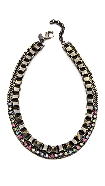 Iosselliani Box Chain Necklace with Rhinestones