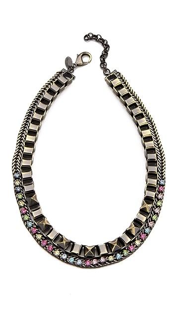 Iosselliani Box Chain Necklace with Rhinestones