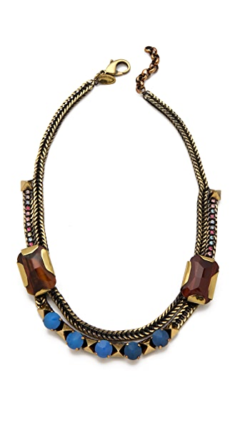 Iosselliani Bib Necklace with Agate & Tiger's Eye