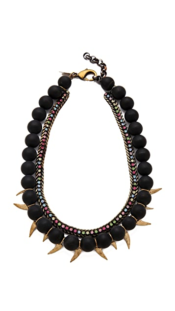 Iosselliani Black Agate Necklace with Rhinestones
