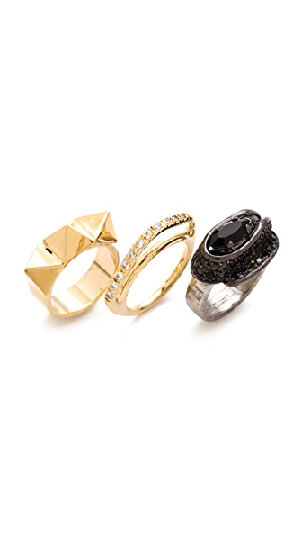 Iosselliani Brass & Rhinestone Ring Set
