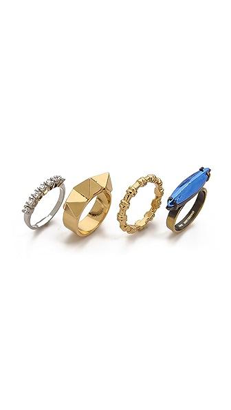 Iosselliani Studded Navette Ring Set